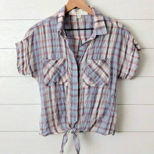 Anthropologie Cloth & Stone Plaid Tie Front Blouse